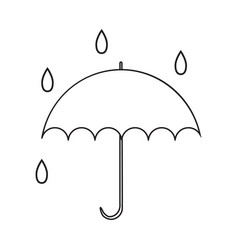 icon with umbrella with drops contour drawing vector image