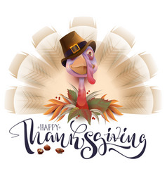live fun turkey bird thanksgiving day poster vector image vector image