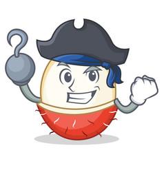 pirate rambutan character cartoon style vector image