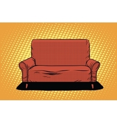 Red sofa then art retro vector image