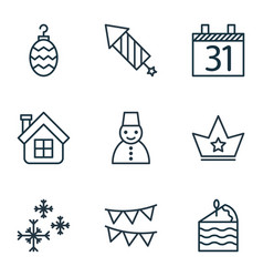 set of 9 happy new year icons includes snow vector image