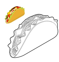 Taco coloring book Traditional Mexican food in vector image