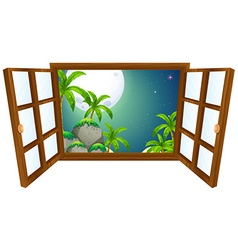 Window view with mountain at night vector image vector image