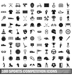 100 sports competition icons set simple style vector image