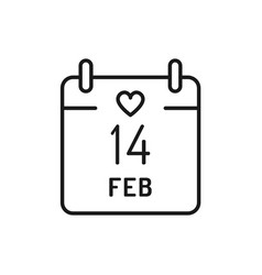 14 february calendar icon valentines day thin vector image
