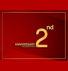 2 anniversary celebration logotype golden color vector