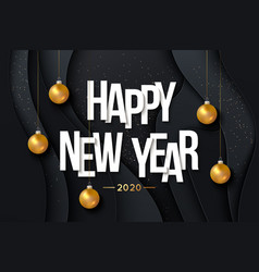 2020 happy new year background with hanging gold vector image