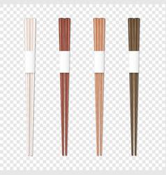 3d realistic wooden chopsticks set closeup vector