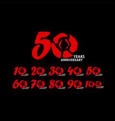 50 year anniversary set flower template design vector
