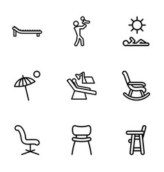 9 chair icons vector image
