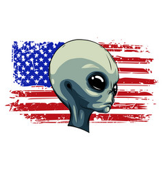 Alien extraterrestrial green face with american vector