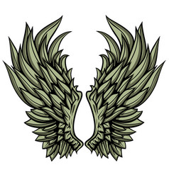Angelic hand drawn wings vector