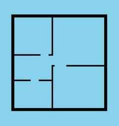 apartment floor plan top view black thin line vector image