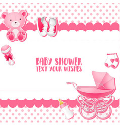 Baby shower invitation card template place for te vector