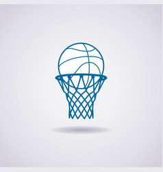 Basketball ball and net icon vector