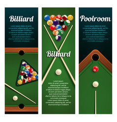 Billiards sport club or pool room banner with ball vector