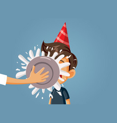 Birthday boy hit in face with a cake vector