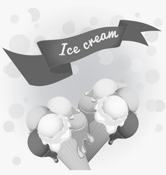 black-and-white poster - two wafer ice cream vector image