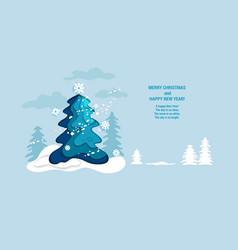 blue fir tree vector image