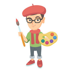 Boy dressed as an artist holding brush and paints vector
