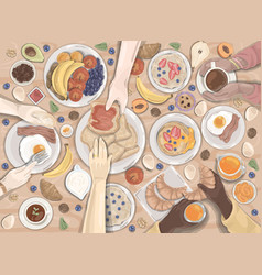 breakfast dinner hotel food set vector image