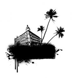 building with palms vector image