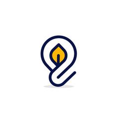 bulb leaf outline innovation modern logo vector image