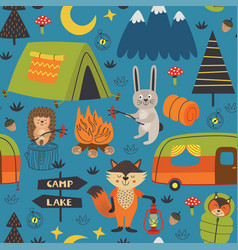 Camping seamless pattern with animals in forest vector