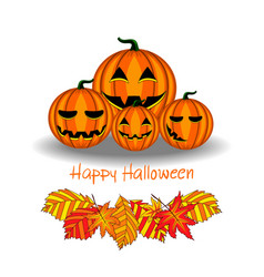 card with halloween pumpkin and foliage vector image