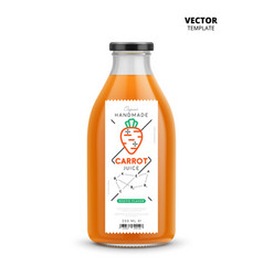 Carrot juice realistic glass bottle with label vector