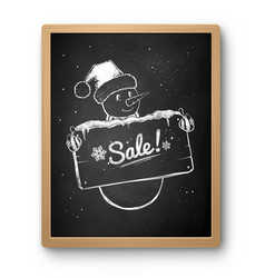 chalked sketch snowman vector image