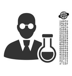Chemist icon with work bonus vector