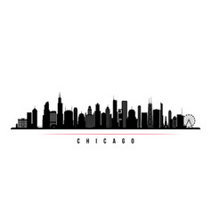 chicago city skyline horizontal banner vector image