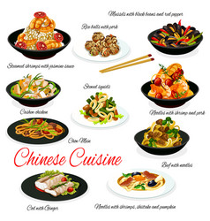 Chinese cuisine meat vegetables seafood and rice vector