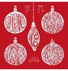 Christmas balls letteringcard elements set vector image