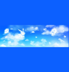 cloud animals flying in blue sky fluffy eddies vector image