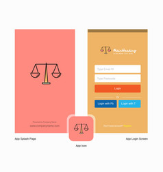 Company justice splash screen and login page vector