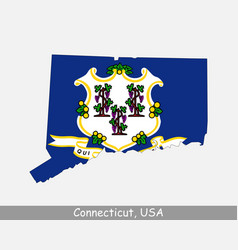 connecticut usa map flag vector image