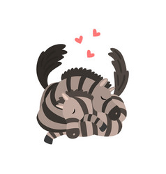 couple of zebras in love embracing each other two vector image