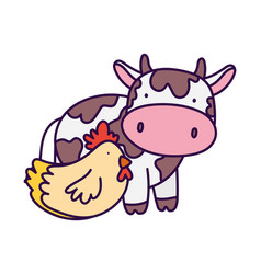 Cow with chicken livestock and poultry farm animal vector