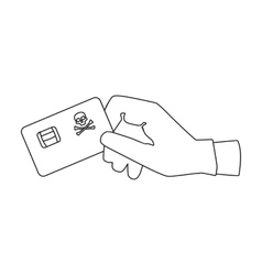 Credit card fraud icon in outline style isolated vector