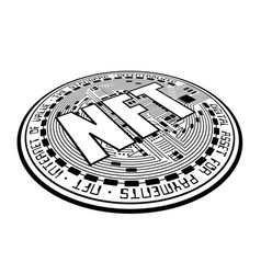 cryptocurrency coin nft outline perspective vector image