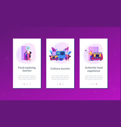 Culinary tourism app interface template vector
