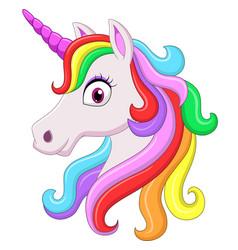 cute rainbow unicorn head mascot vector image