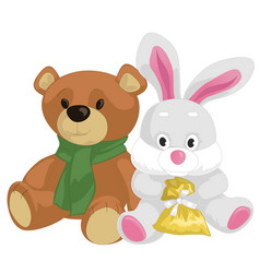Cute toy teddy bear and rabbit vector