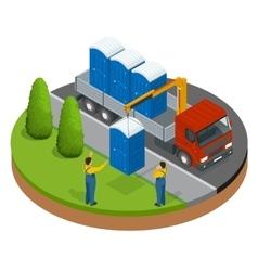 Delivery or shipping bio toilet cabins blue bio vector