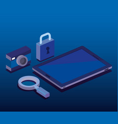 digital technology isometrics icons vector image