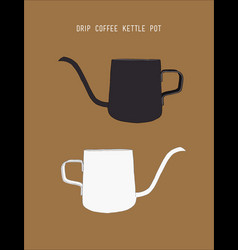 Drip coffee kettle sketch vector