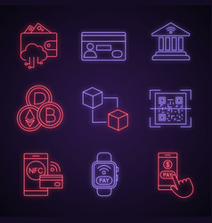 e-payment neon light icons set vector image