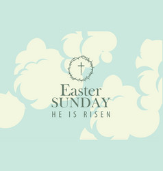 easter banner with words on the sky with clouds vector image